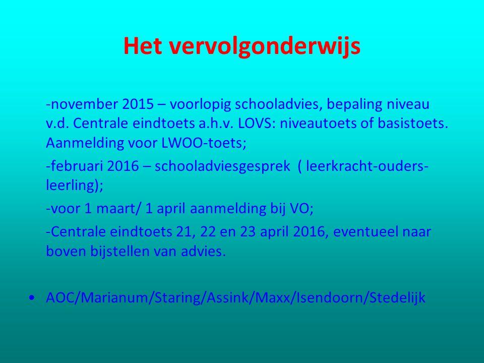 Het vervolgonderwijs -november 2015 – voorlopig schooladvies, bepaling niveau v.d. Centrale eindtoets a.h.v. LOVS: niveautoets of basistoets. Aanmeldi