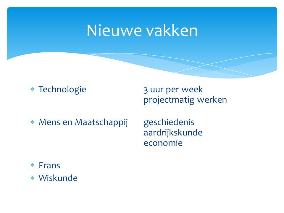  Technologie 3 uur per week projectmatig werken  Mens en Maatschappijgeschiedenis aardrijkskunde economie  Frans  Wiskunde Nieuwe vakken