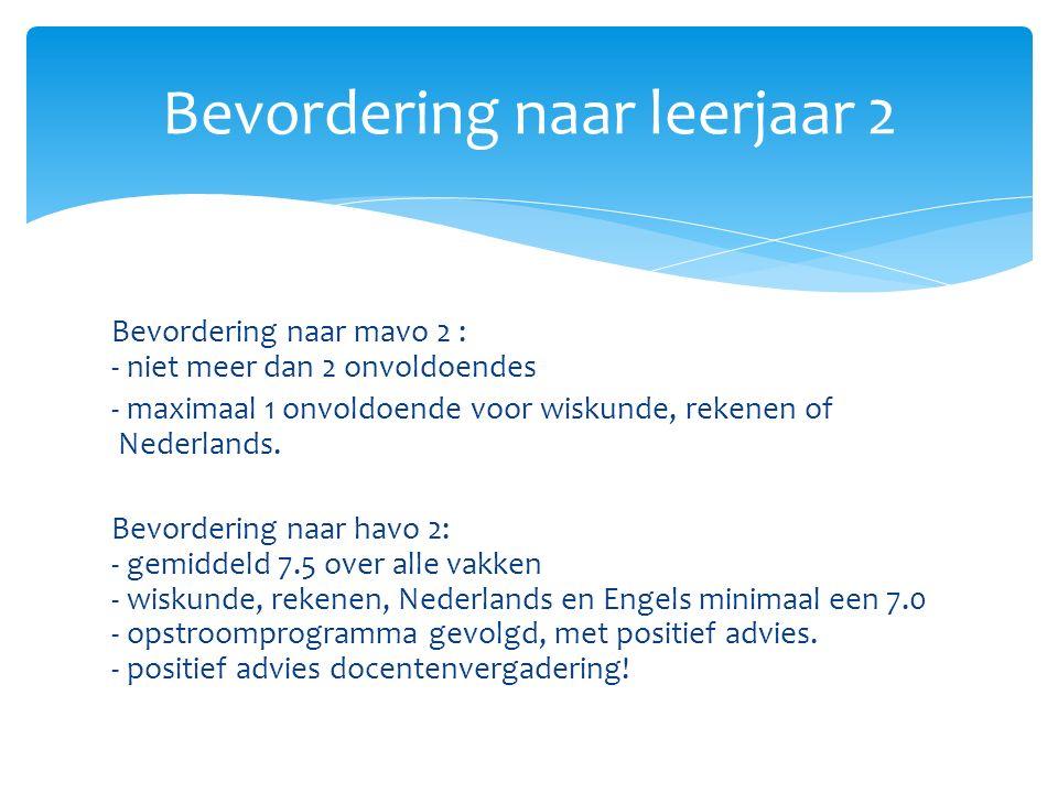 Bevordering naar mavo 2 : - niet meer dan 2 onvoldoendes - maximaal 1 onvoldoende voor wiskunde, rekenen of Nederlands.