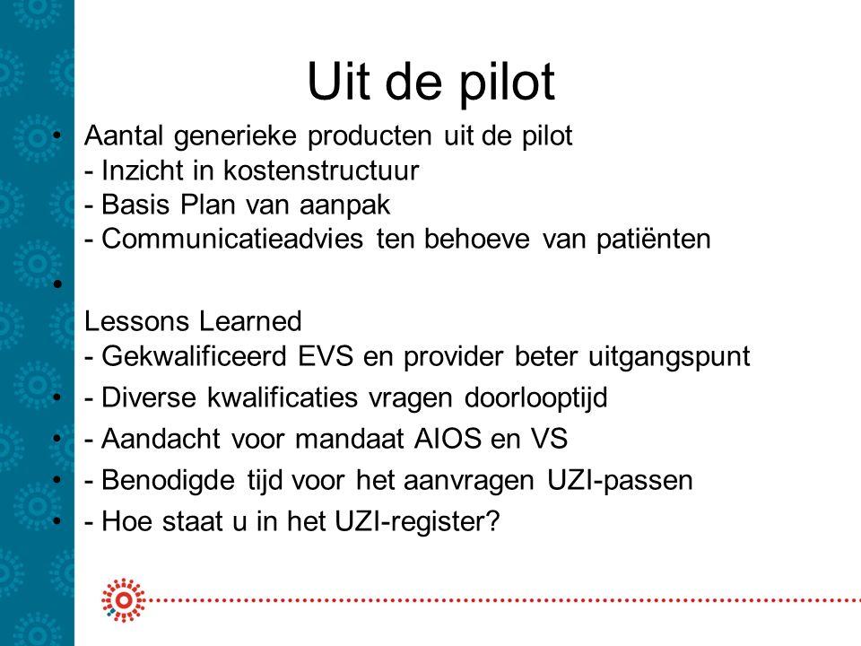 Uit de pilot Aantal generieke producten uit de pilot - Inzicht in kostenstructuur - Basis Plan van aanpak - Communicatieadvies ten behoeve van patiënt