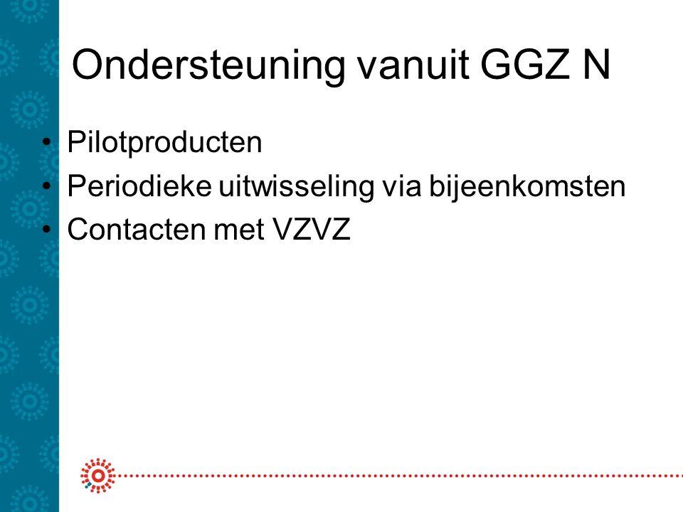 Ondersteuning vanuit GGZ N Pilotproducten Periodieke uitwisseling via bijeenkomsten Contacten met VZVZ