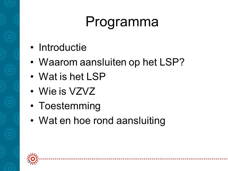 Programma Introductie Waarom aansluiten op het LSP? Wat is het LSP Wie is VZVZ Toestemming Wat en hoe rond aansluiting