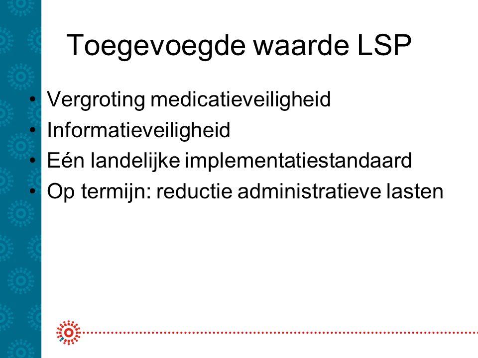 Toegevoegde waarde LSP Vergroting medicatieveiligheid Informatieveiligheid Eén landelijke implementatiestandaard Op termijn: reductie administratieve