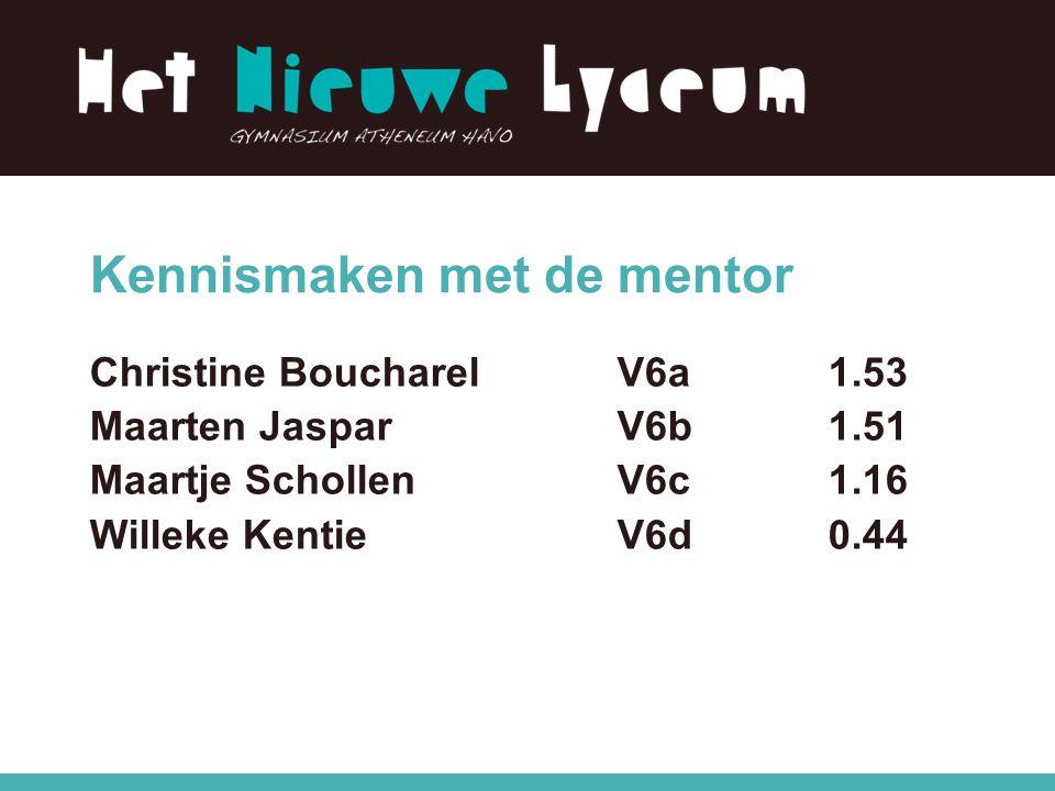 Kennismaken met de mentor Christine BoucharelV6a 1.53 Maarten JasparV6b 1.51 Maartje SchollenV6c1.16 Willeke KentieV6d 0.44