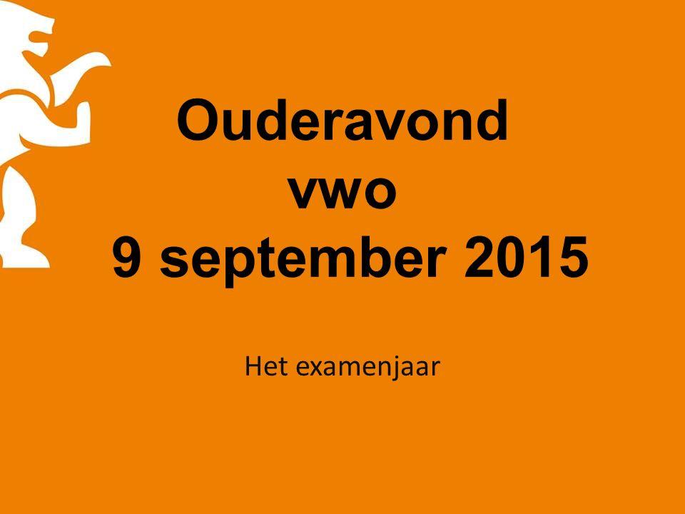 Ouderavond vwo 9 september 2015 Het examenjaar
