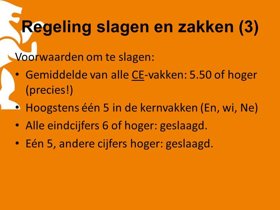 Regeling slagen en zakken (3) Voorwaarden om te slagen: Gemiddelde van alle CE-vakken: 5.50 of hoger (precies!) Hoogstens één 5 in de kernvakken (En, wi, Ne) Alle eindcijfers 6 of hoger: geslaagd.
