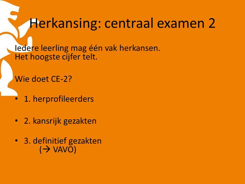Herkansing: centraal examen 2 Iedere leerling mag één vak herkansen.
