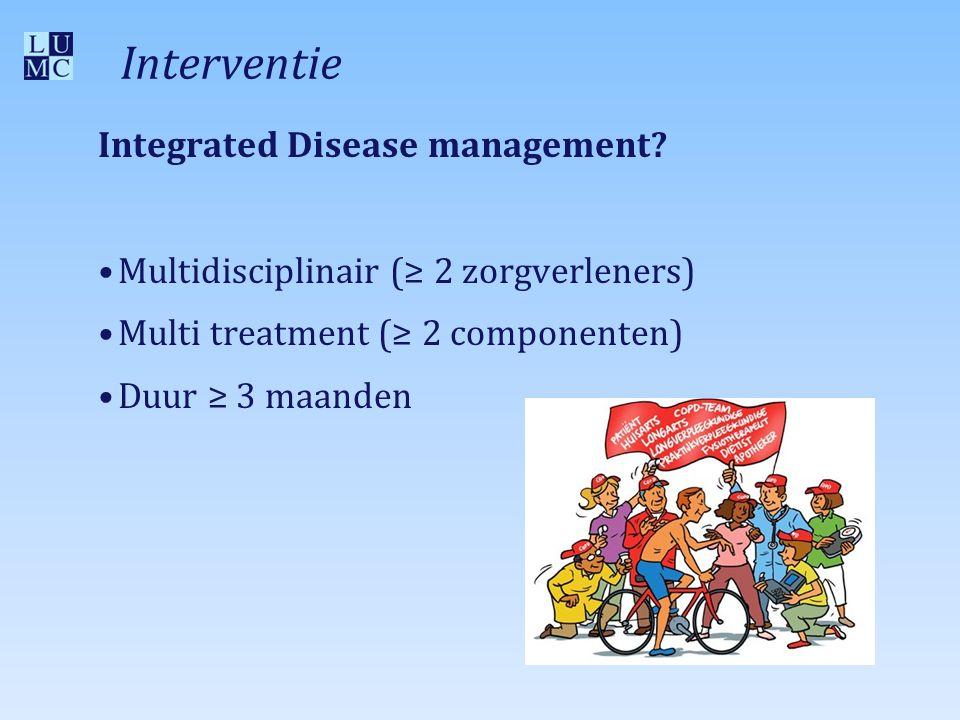 Multi treatment (≥ 2 componenten) 1.Educatie/zelf-management 2.Trainen 3.Psychosociaal 4.Stoppen met roken 5.Medicatie 6.Diëtetiek 7.Follow-up en/of communicatie 8.Multidisciplinair team (i.e.