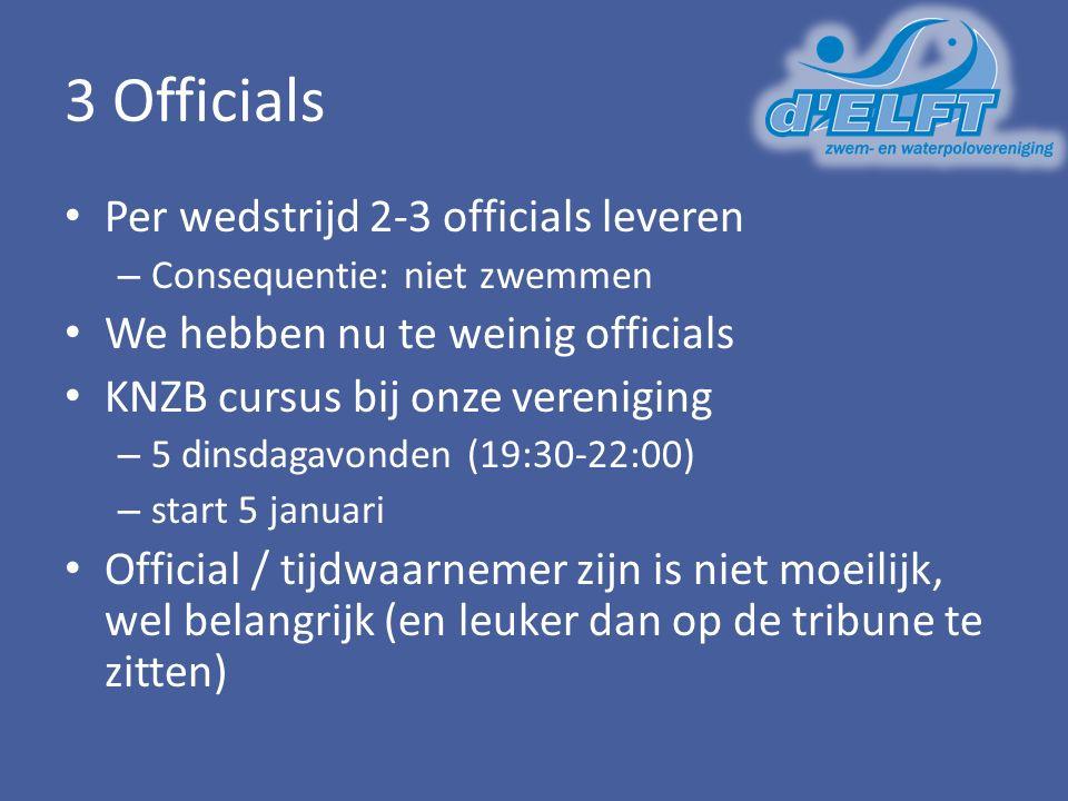 3 Officials Per wedstrijd 2-3 officials leveren – Consequentie: niet zwemmen We hebben nu te weinig officials KNZB cursus bij onze vereniging – 5 dins