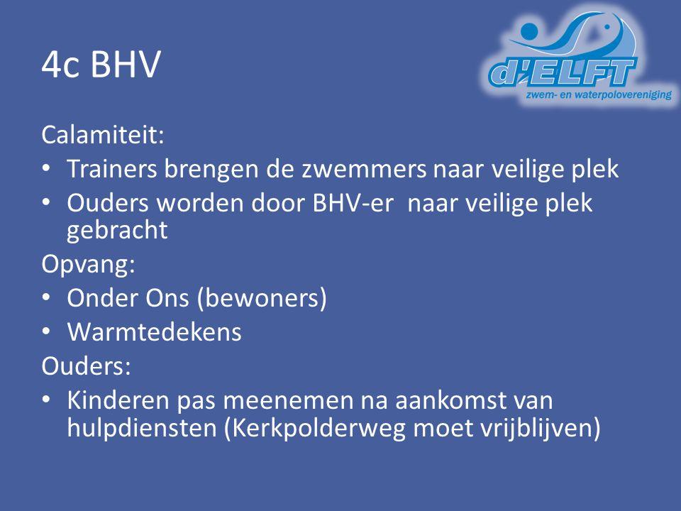 4c BHV Calamiteit: Trainers brengen de zwemmers naar veilige plek Ouders worden door BHV-er naar veilige plek gebracht Opvang: Onder Ons (bewoners) Warmtedekens Ouders: Kinderen pas meenemen na aankomst van hulpdiensten (Kerkpolderweg moet vrijblijven)