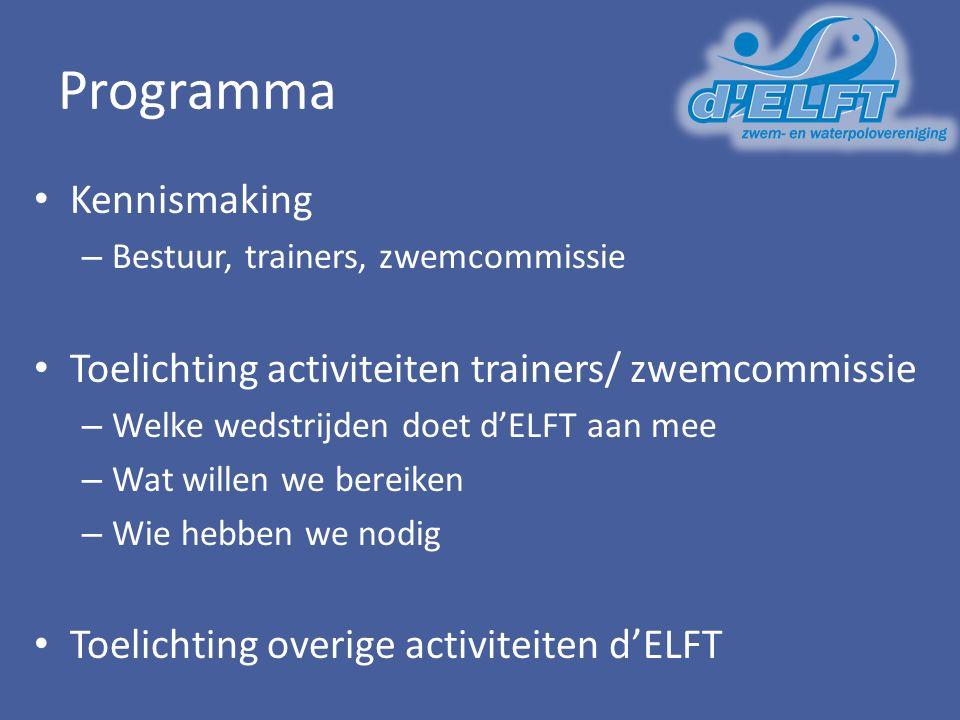 Programma Kennismaking – Bestuur, trainers, zwemcommissie Toelichting activiteiten trainers/ zwemcommissie – Welke wedstrijden doet d'ELFT aan mee – Wat willen we bereiken – Wie hebben we nodig Toelichting overige activiteiten d'ELFT