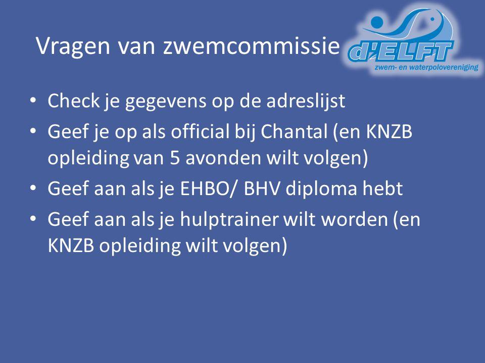 Vragen van zwemcommissie Check je gegevens op de adreslijst Geef je op als official bij Chantal (en KNZB opleiding van 5 avonden wilt volgen) Geef aan