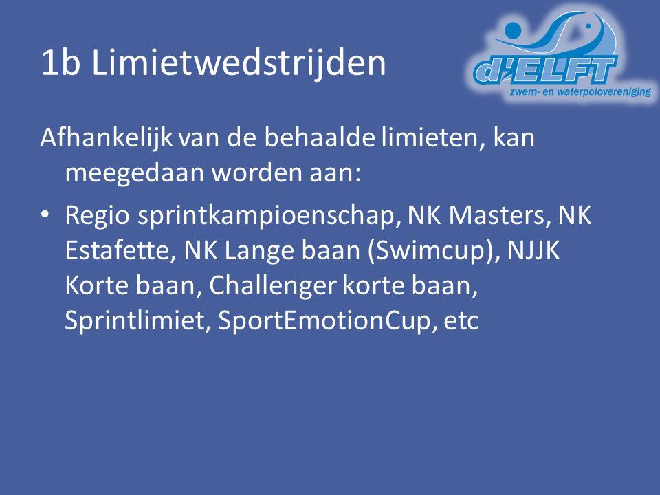1b Limietwedstrijden Afhankelijk van de behaalde limieten, kan meegedaan worden aan: Regio sprintkampioenschap, NK Masters, NK Estafette, NK Lange baan (Swimcup), NJJK Korte baan, Challenger korte baan, Sprintlimiet, SportEmotionCup, etc