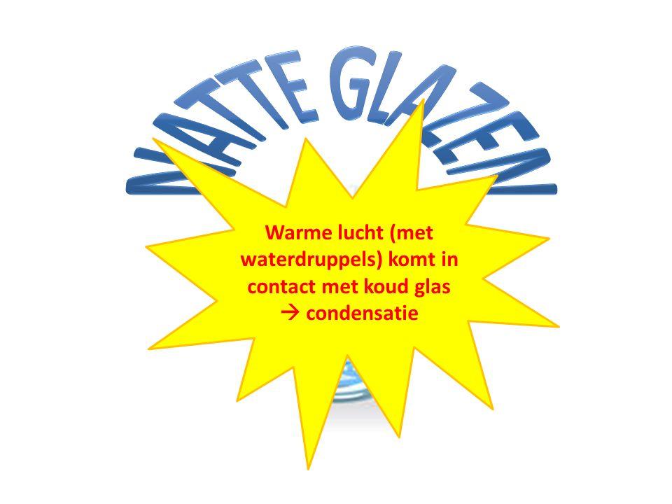 Warme lucht (met waterdruppels) komt in contact met koud glas  condensatie