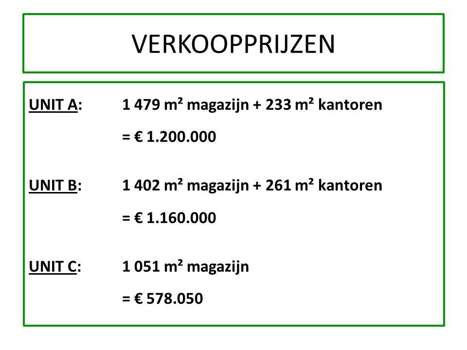 VERKOOPPRIJZEN UNIT A:1 479 m² magazijn + 233 m² kantoren = € 1.200.000 UNIT B:1 402 m² magazijn + 261 m² kantoren = € 1.160.000 UNIT C:1 051 m² magaz