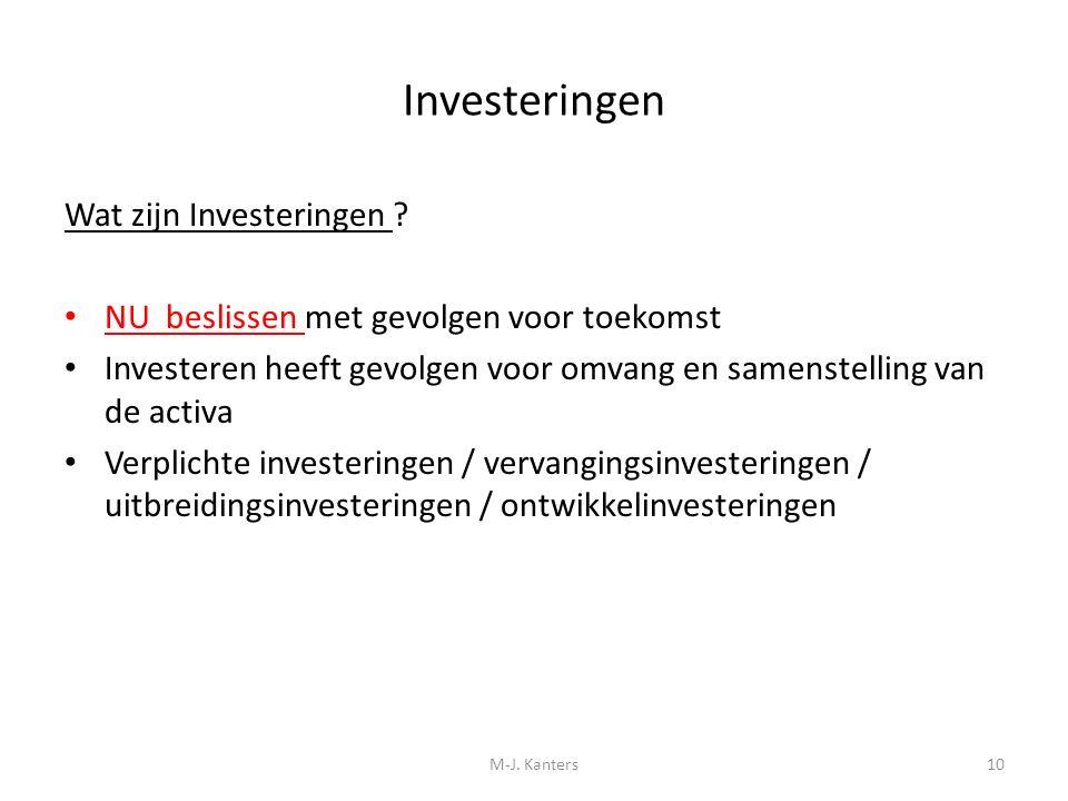 Investeringen Wat zijn Investeringen ? NU beslissen met gevolgen voor toekomst Investeren heeft gevolgen voor omvang en samenstelling van de activa Ve