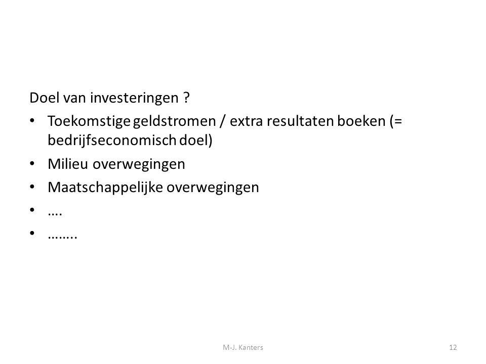 Doel van investeringen ? Toekomstige geldstromen / extra resultaten boeken (= bedrijfseconomisch doel) Milieu overwegingen Maatschappelijke overweging