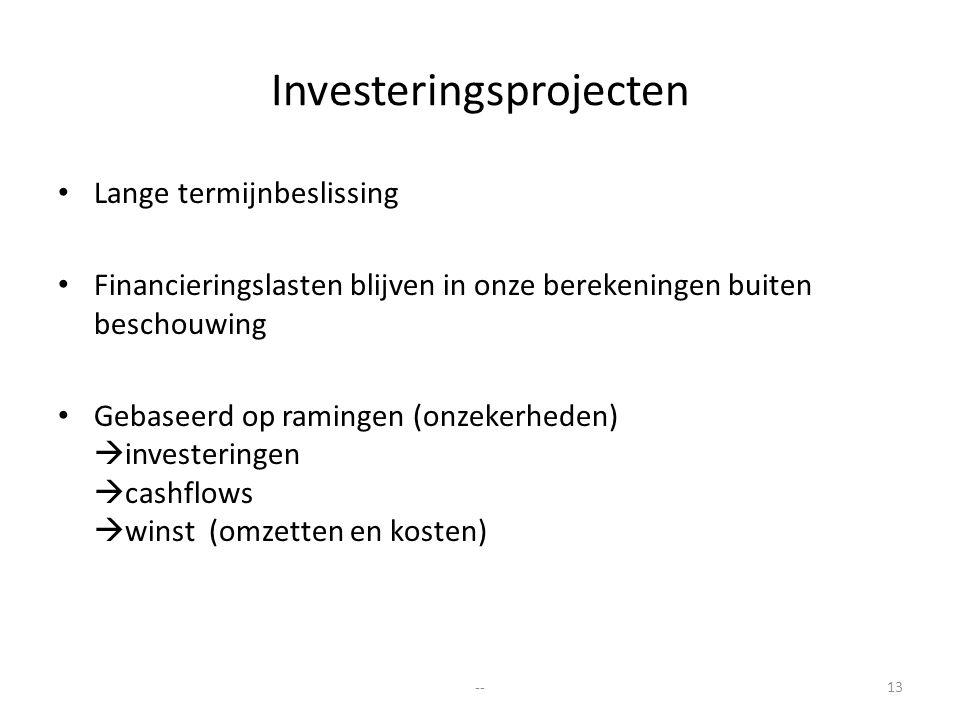 Investeringsprojecten Lange termijnbeslissing Financieringslasten blijven in onze berekeningen buiten beschouwing Gebaseerd op ramingen (onzekerheden)
