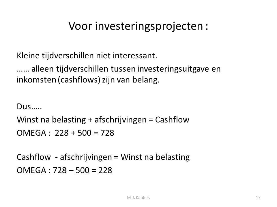 Voor investeringsprojecten : Kleine tijdverschillen niet interessant. …… alleen tijdverschillen tussen investeringsuitgave en inkomsten (cashflows) zi