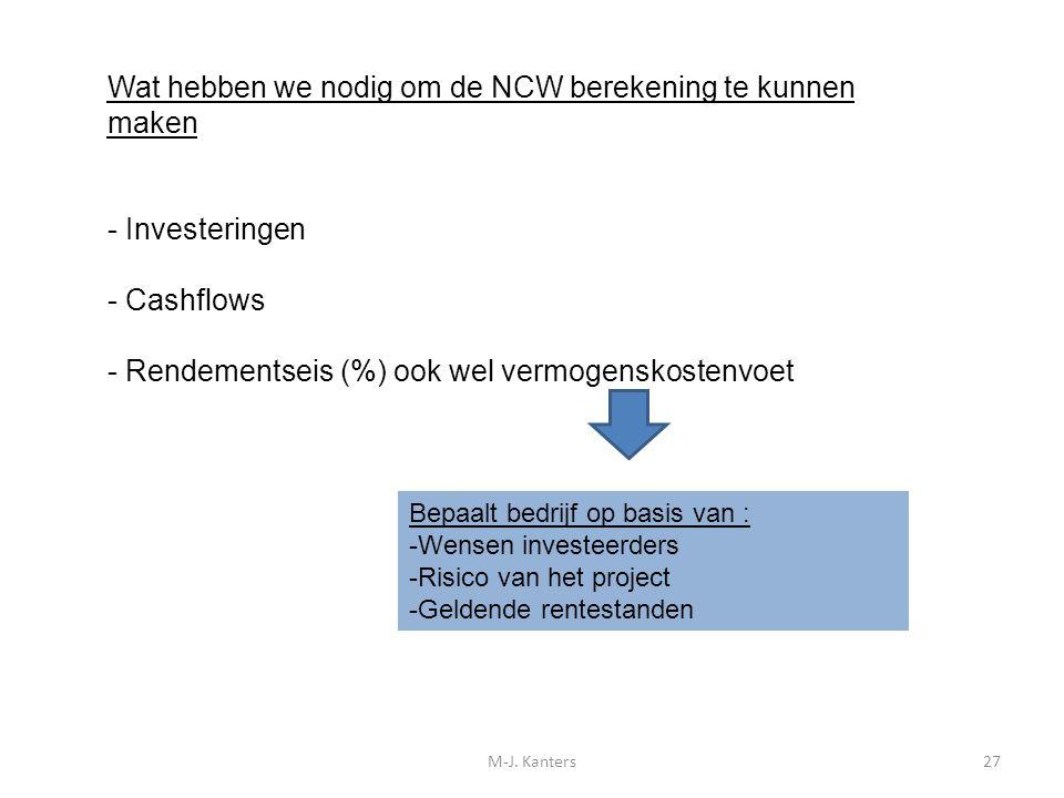 M-J. Kanters27 Wat hebben we nodig om de NCW berekening te kunnen maken - Investeringen - Cashflows - Rendementseis (%) ook wel vermogenskostenvoet Be