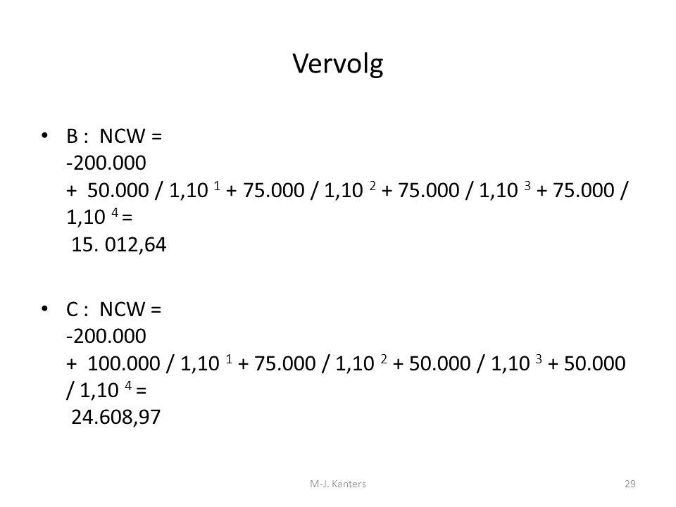 Vervolg B : NCW = -200.000 + 50.000 / 1,10 1 + 75.000 / 1,10 2 + 75.000 / 1,10 3 + 75.000 / 1,10 4 = 15. 012,64 C : NCW = -200.000 + 100.000 / 1,10 1