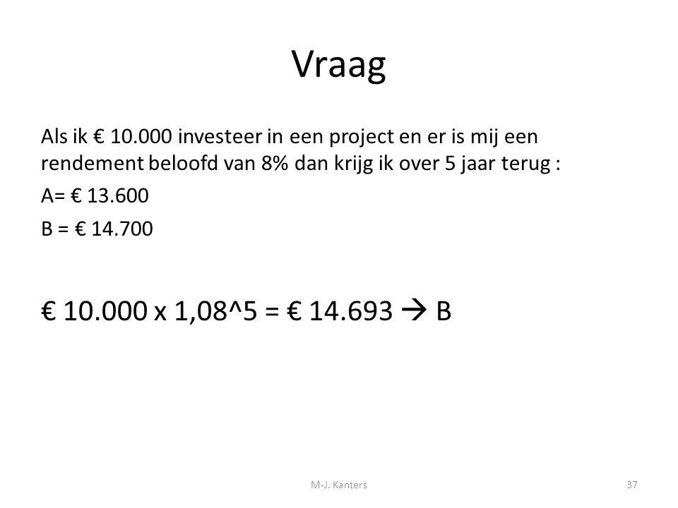 Vraag Als ik € 10.000 investeer in een project en er is mij een rendement beloofd van 8% dan krijg ik over 5 jaar terug : A= € 13.600 B = € 14.700 € 1