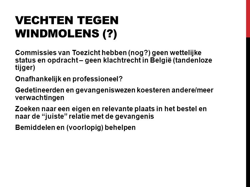 VECHTEN TEGEN WINDMOLENS ( ) Commissies van Toezicht hebben (nog ) geen wettelijke status en opdracht – geen klachtrecht in België (tandenloze tijger) Onafhankelijk en professioneel.