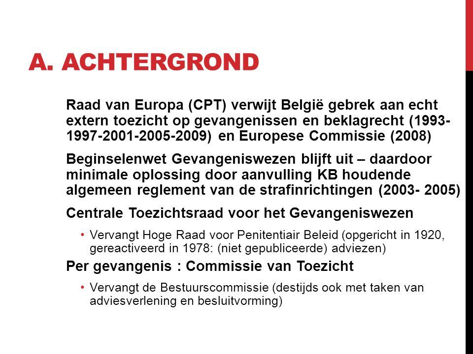A. ACHTERGROND Raad van Europa (CPT) verwijt België gebrek aan echt extern toezicht op gevangenissen en beklagrecht (1993- 1997-2001-2005-2009) en Eur