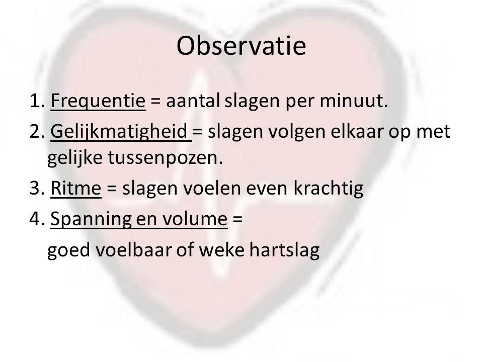 Observatie 1.Frequentie = aantal slagen per minuut.