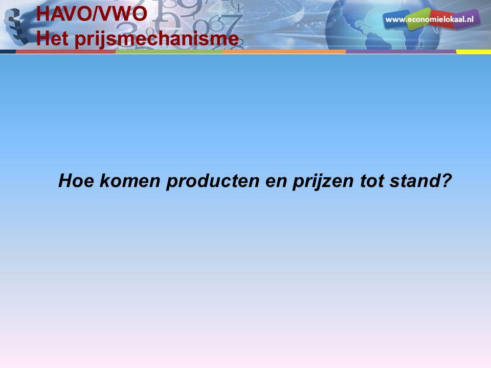 www.economielokaal.nl HAVO/VWO Het prijsmechanisme Hoe komen producten en prijzen tot stand?