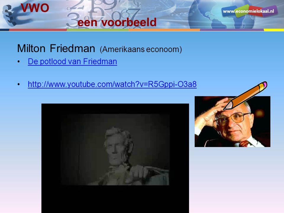www.economielokaal.nl VWO een voorbeeld Milton Friedman (Amerikaans econoom) De potlood van Friedman http://www.youtube.com/watch?v=R5Gppi-O3a8