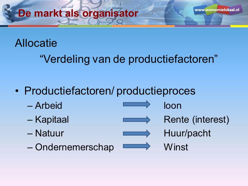 """www.economielokaal.nl De markt als organisator Allocatie """"Verdeling van de productiefactoren"""" Productiefactoren/ productieproces –Arbeid loon –Kapitaa"""
