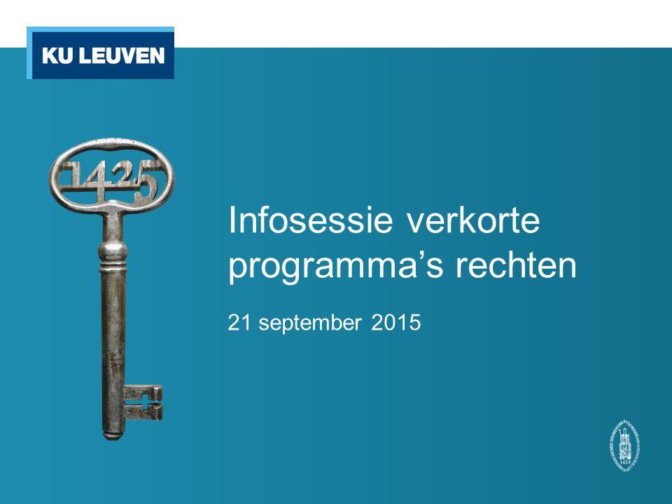 Infosessie verkorte programma's rechten 21 september 2015