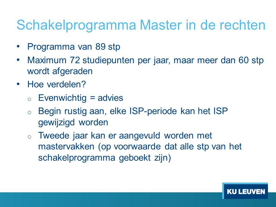 Schakelprogramma Master in de rechten Programma van 89 stp Maximum 72 studiepunten per jaar, maar meer dan 60 stp wordt afgeraden Hoe verdelen? o Even