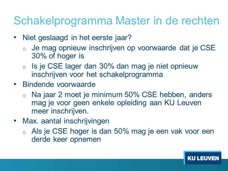 Schakelprogramma Master in de rechten Niet geslaagd in het eerste jaar? o Je mag opnieuw inschrijven op voorwaarde dat je CSE 30% of hoger is o Is je