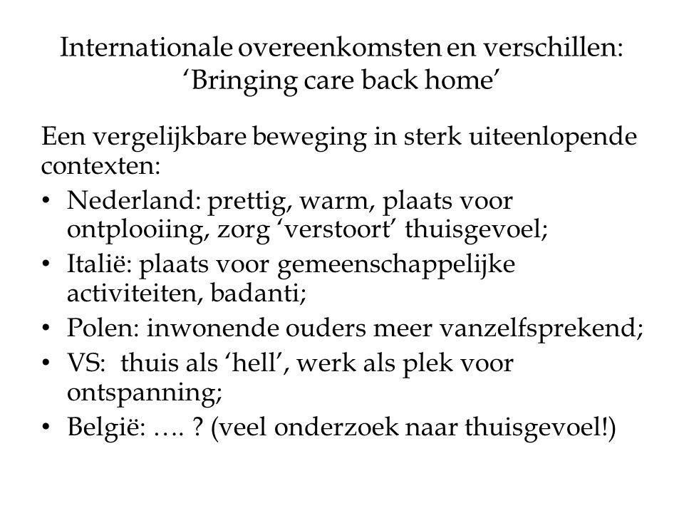 Internationale overeenkomsten en verschillen: 'Bringing care back home' Een vergelijkbare beweging in sterk uiteenlopende contexten: Nederland: prettig, warm, plaats voor ontplooiing, zorg 'verstoort' thuisgevoel; Italië: plaats voor gemeenschappelijke activiteiten, badanti; Polen: inwonende ouders meer vanzelfsprekend; VS: thuis als 'hell', werk als plek voor ontspanning; België: ….