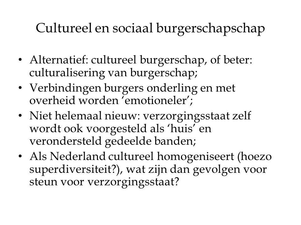 Cultureel en sociaal burgerschapschap Alternatief: cultureel burgerschap, of beter: culturalisering van burgerschap; Verbindingen burgers onderling en met overheid worden 'emotioneler'; Niet helemaal nieuw: verzorgingsstaat zelf wordt ook voorgesteld als 'huis' en verondersteld gedeelde banden; Als Nederland cultureel homogeniseert (hoezo superdiversiteit?), wat zijn dan gevolgen voor steun voor verzorgingsstaat?