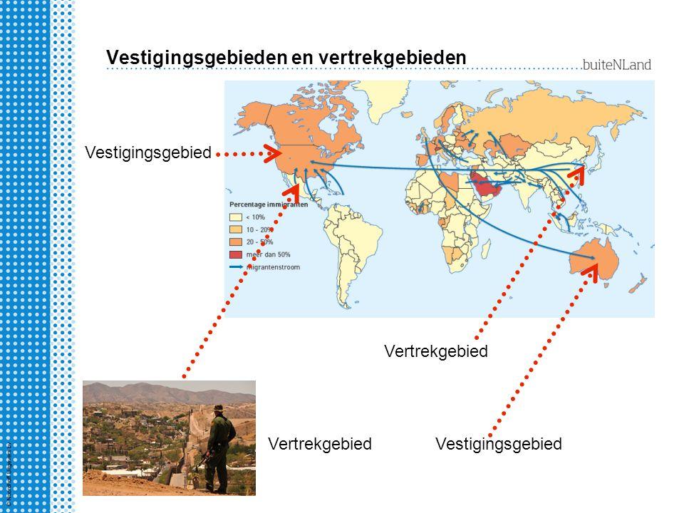 Vestigingsgebieden en vertrekgebieden Vertrekgebied Vestigingsgebied Vertrekgebied Vestigingsgebied