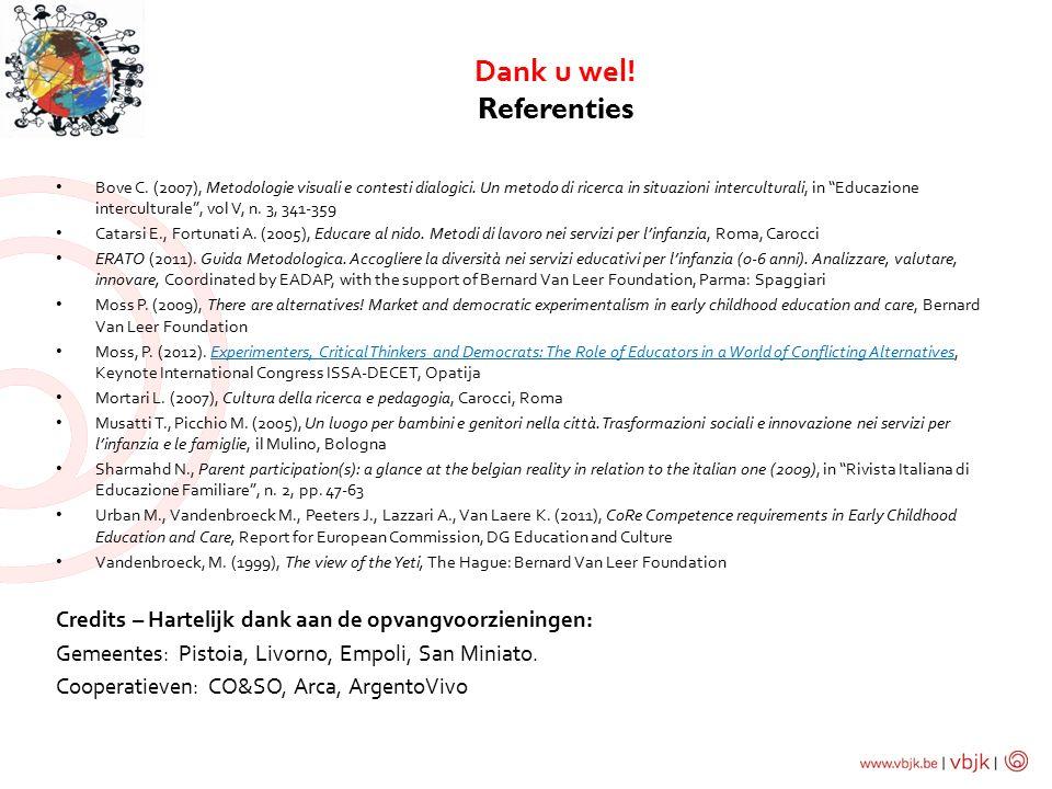 Dank u wel.Referenties Bove C. (2007), Metodologie visuali e contesti dialogici.