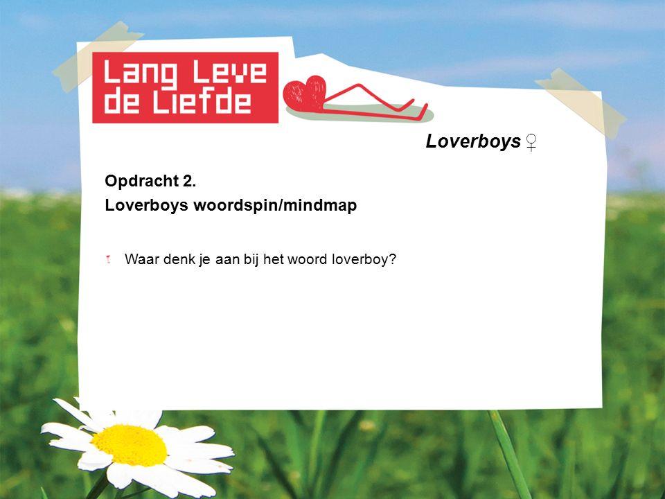 Loverboys ♀ Opdracht 2. Loverboys woordspin/mindmap Waar denk je aan bij het woord loverboy?