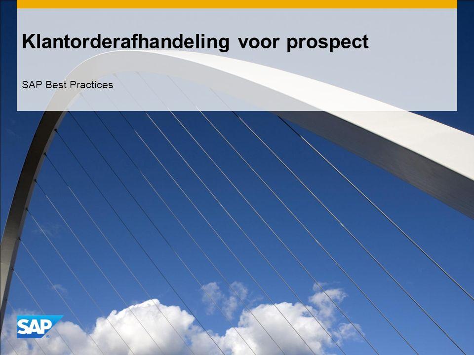 Klantorderafhandeling voor prospect SAP Best Practices