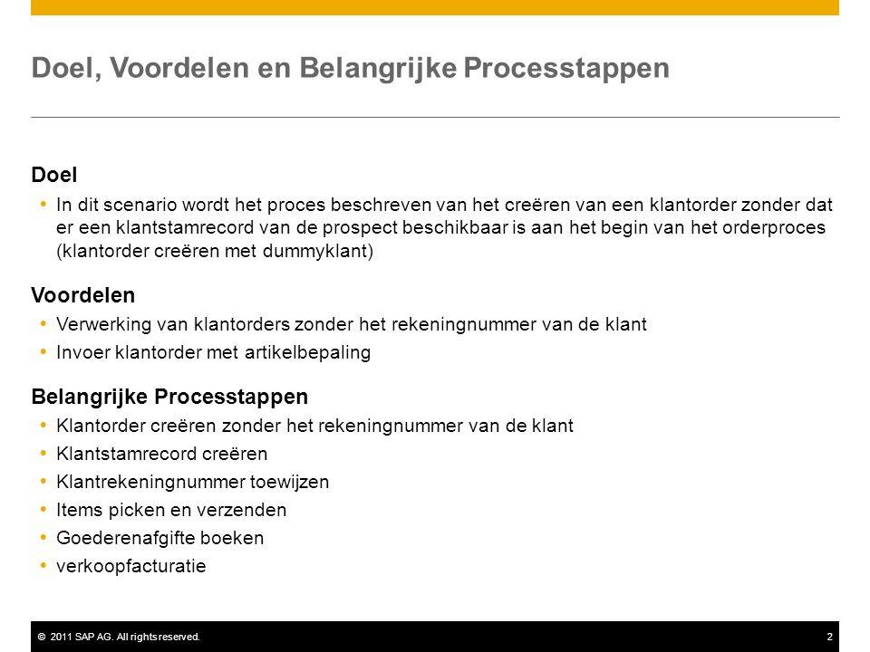 ©2011 SAP AG. All rights reserved.2 Doel, Voordelen en Belangrijke Processtappen Doel  In dit scenario wordt het proces beschreven van het creëren va