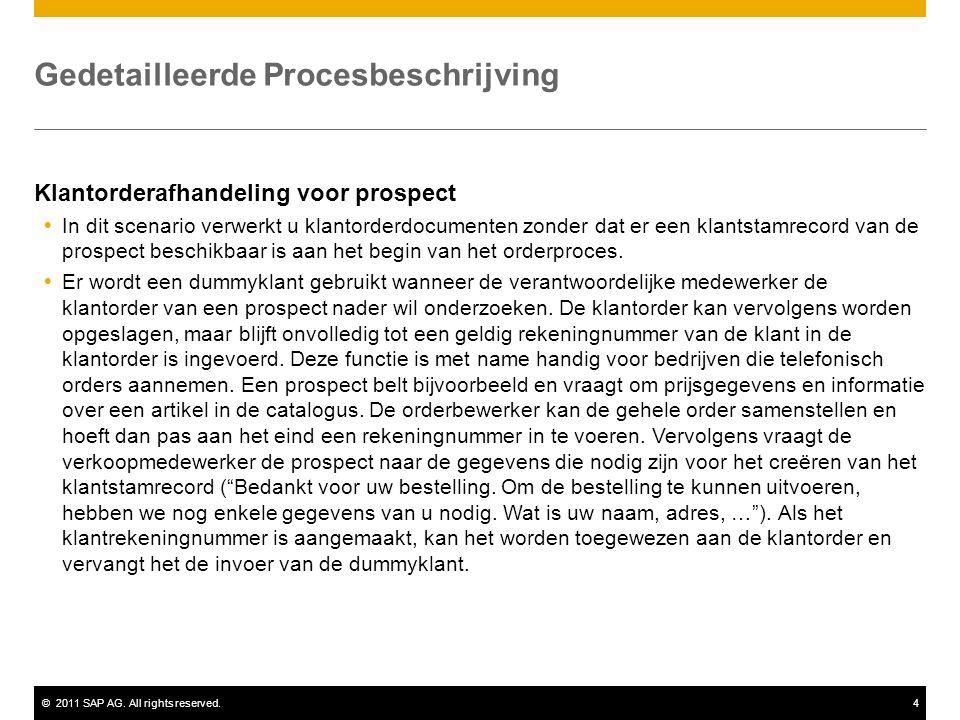 ©2011 SAP AG. All rights reserved.4 Gedetailleerde Procesbeschrijving Klantorderafhandeling voor prospect  In dit scenario verwerkt u klantorderdocum
