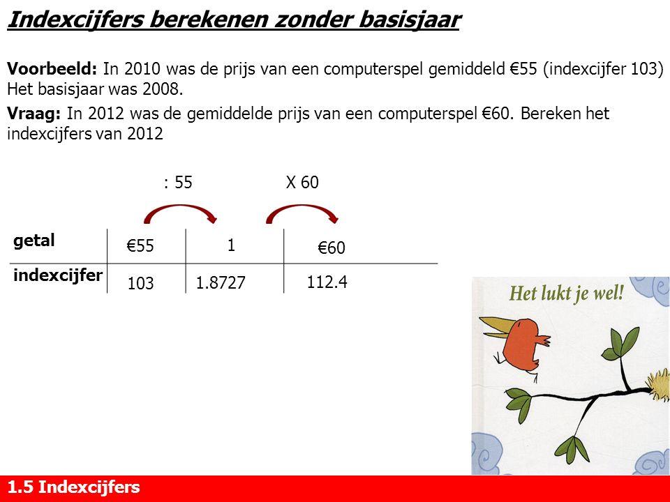 Indexcijfers berekenen zonder basisjaar Voorbeeld: In 2010 was de prijs van een computerspel gemiddeld €55 (indexcijfer 103) Het basisjaar was 2008. V