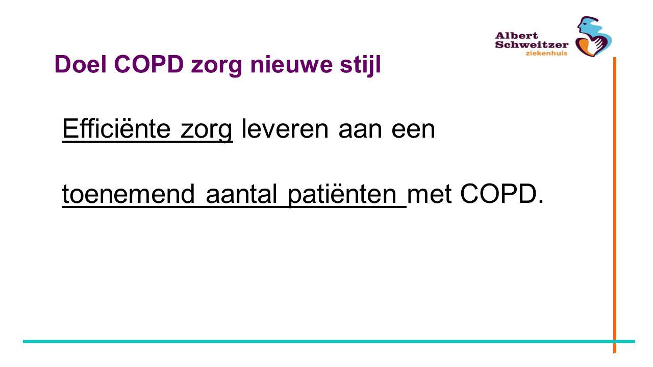 Doel COPD zorg nieuwe stijl Efficiënte zorg leveren aan een toenemend aantal patiënten met COPD.