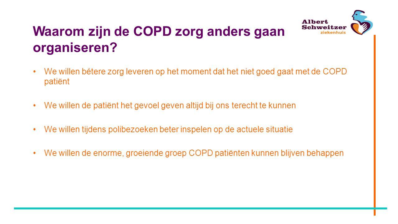 Waarom zijn de COPD zorg anders gaan organiseren? We willen bétere zorg leveren op het moment dat het niet goed gaat met de COPD patiënt We willen de