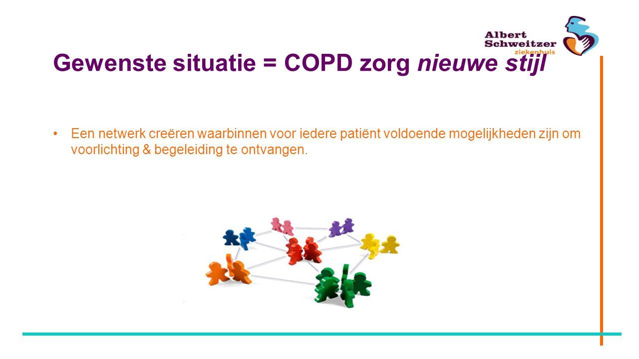 Gewenste situatie = COPD zorg nieuwe stijl Een netwerk creëren waarbinnen voor iedere patiënt voldoende mogelijkheden zijn om voorlichting & begeleidi