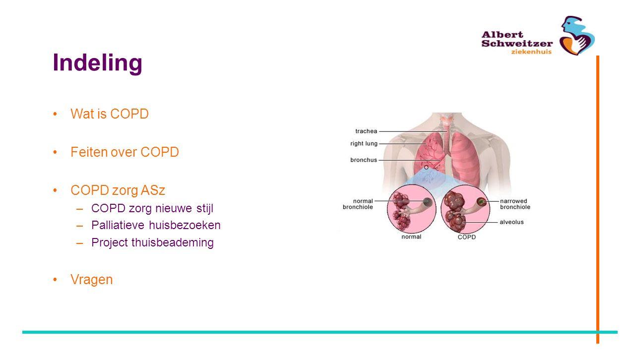Indeling Wat is COPD Feiten over COPD COPD zorg ASz –COPD zorg nieuwe stijl –Palliatieve huisbezoeken –Project thuisbeademing Vragen