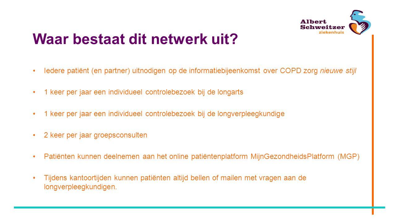 Waar bestaat dit netwerk uit? Iedere patiënt (en partner) uitnodigen op de informatiebijeenkomst over COPD zorg nieuwe stijl 1 keer per jaar een indiv