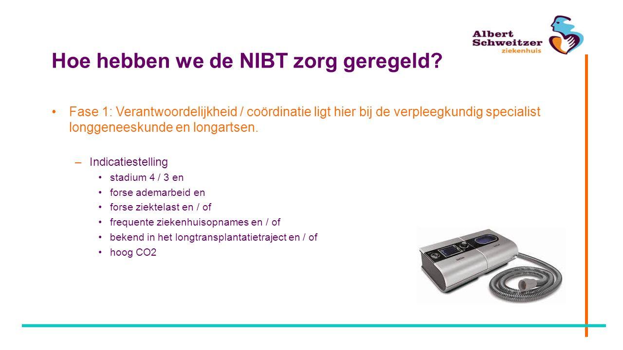 Hoe hebben we de NIBT zorg geregeld? Fase 1: Verantwoordelijkheid / coördinatie ligt hier bij de verpleegkundig specialist longgeneeskunde en longarts